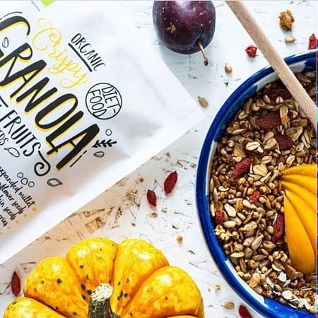 Ekologiška granola su vaisiais, be cukraus, Diet Food (200g) | ifood.lt