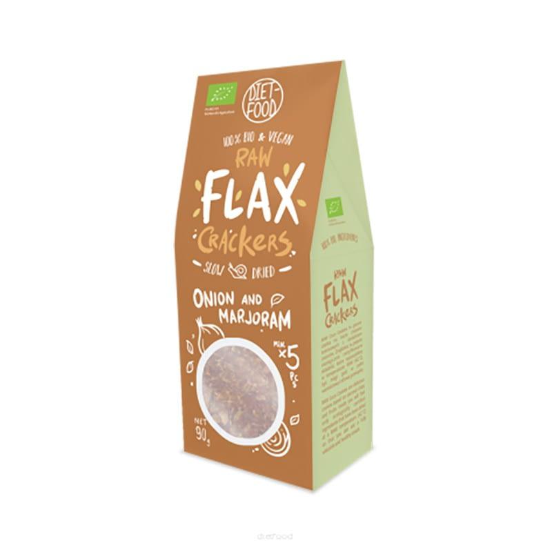 Ekologiški linų sėmenų krekeriai su svogūnais ir mairūnais, Diet Food (90g) | ifood.lt