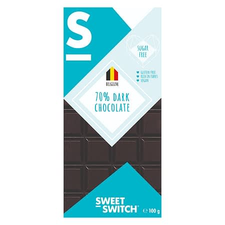 Belgiškas juodasis šokoladas 70%, be cukraus ir glitimo, Sweet Switch (100g) | ifood.lt