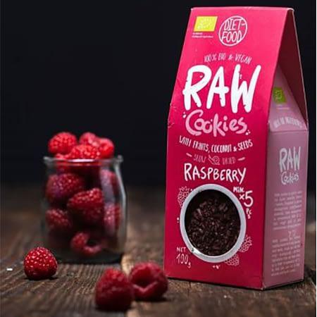 Ekologiški RAW sausainiai su avietėmis, be cukraus, Diet Food (100g) | ifood.lt