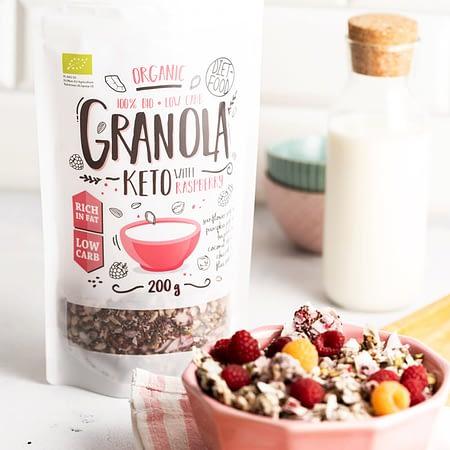 Ekologiška Keto granola su avietėmis, be cukraus, Diet Food (200g) | ifood.lt