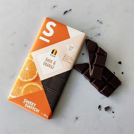 Apelsinų skonio belgiškas juodasis šokoladas, be cukraus ir glitimo, Sweet Switch (100g) | ifood.lt