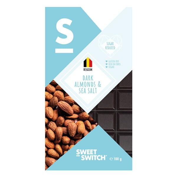 Belgiškas juodasis šokoladas su migdolais ir jūros druska, be cukraus ir glitimo, Sweet Switch (100g) | ifood.lt