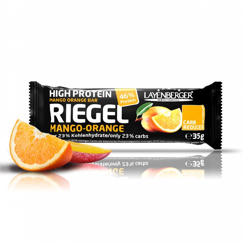 Mango ir apelsinų skonio baltyminis batonėlis be cukraus, Layenberger (35g) | ifood.lt