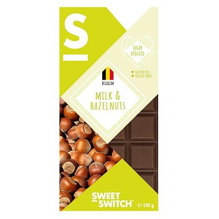 Belgiškas pieniškas šokoladas su lazdynų riešutais, be cukraus ir glitimo, Sweet Switch (100g) | ifood.lt