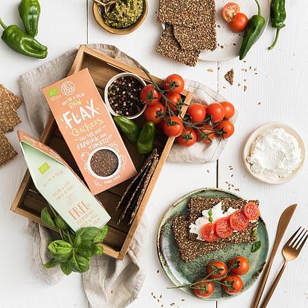 Ekologiški linų sėmenų krekeriai su paprikomis ir pomidorais, Diet Food (90g) | ifood.lt