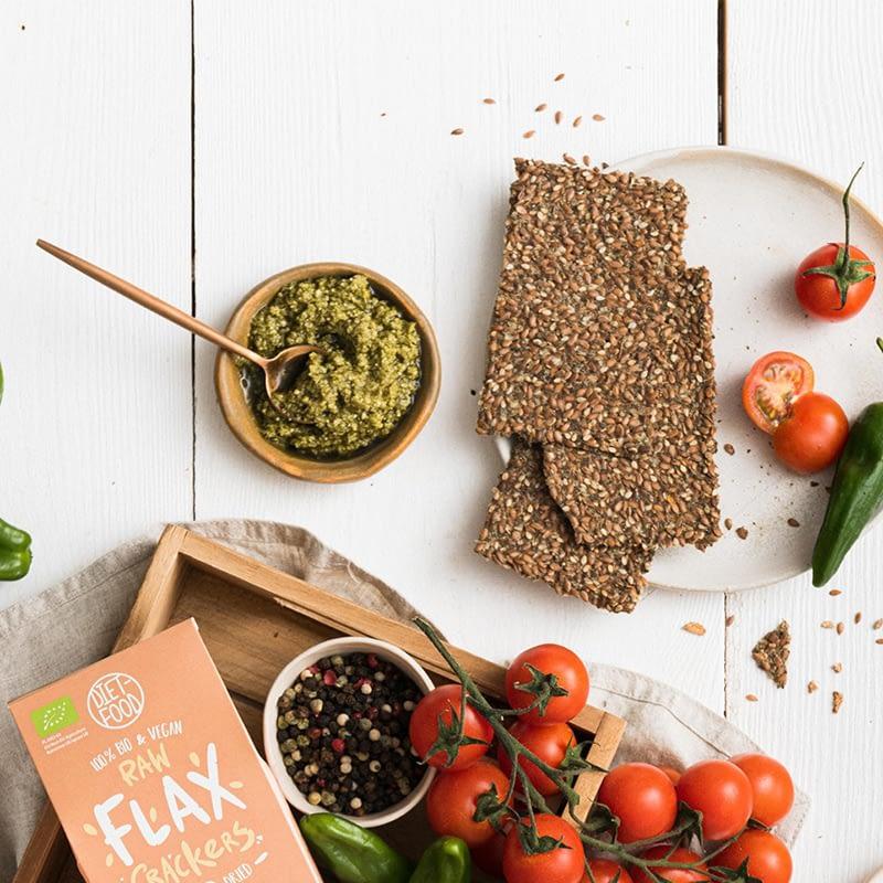 Ekologiški linų sėmenų krekeriai su svogūnais ir mairūnais, Diet Food (90g)   ifood.lt