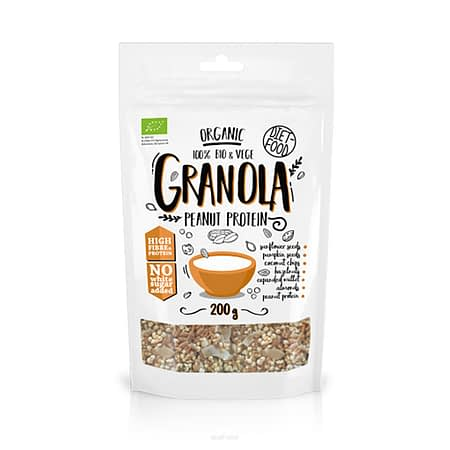 Ekologiška granola su žemės riešutų baltymais, be cukraus, Diet Food (200g) | ifood.lt