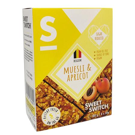 Javainių batonėliai su abrikosais, be cukraus, Sweet Switch (6vnt. x 30g) | ifood.lt