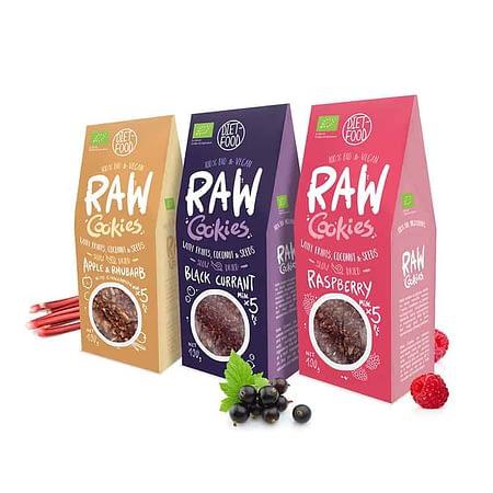 Ekologiškų sausainių su uogomis ir vaisiais rinkinys, be cukraus, RAW Cookies (3vnt.) | ifood.lt