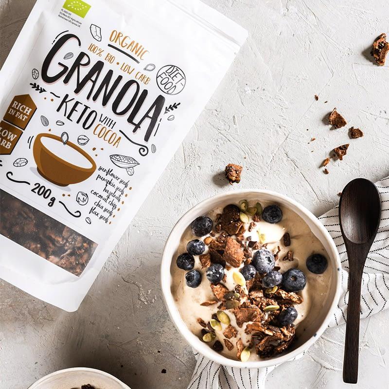 Ekologiška Keto granola su kakava, be cukraus, Diet Food (200g)   ifood.lt