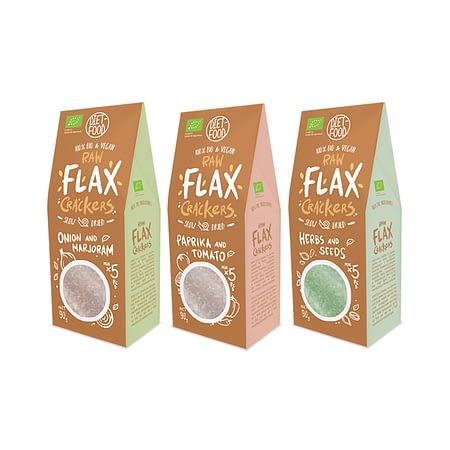 Ekologiškų linų sėmenų krekerių rinkinys, Flax Crackers (3vnt.) | ifood.lt