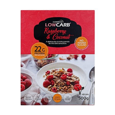 Granola su avietėmis, be cukraus ir glitimo, Low Carb (500g) | ifood.lt